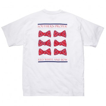 Red, White, & Bow Tee - White